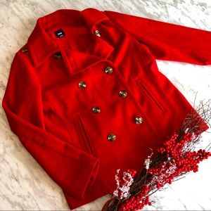 Ruby Red Gap double breasted pea coat size large